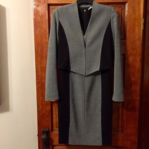 T Tahari Black & Gray Jacket & Dress Combo Size 2